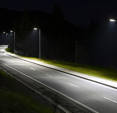modern streetlights with LED technology at night, empty modern road