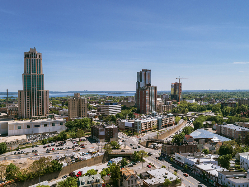 The aerial panoramic view to the skyscrapers in the Downtown of New Rochelle, Westchester county, New York State, USA